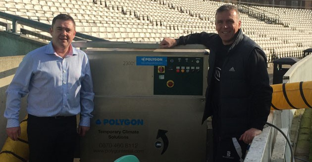 Surrey Director of Cricket Alec Stewart with Andy Oakes, Director, Temporary Climate Solutions, Polygon