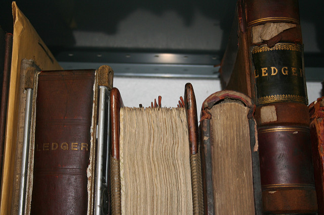 archive with old books